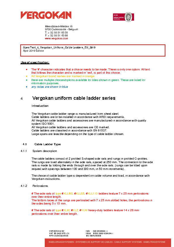 Spec Text_4_Vergokan_Uniform_Cable Ladders_EN_2019